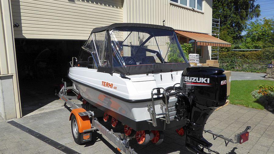 Heckpersenning komplett geschlossen Terhi 480 Sportboot Suzuki DF60